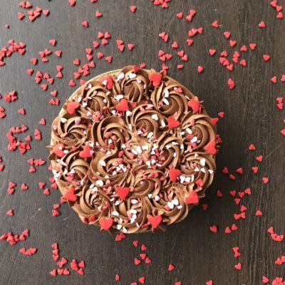 Whipped Ganache Chocolate Valentine Cake